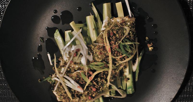 Chef Vasilios Sarellas cooks Sea bream with pistachio crumble